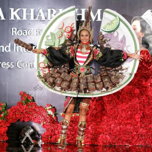 Gaun Sate Ayam Wakil Indonesia di Miss Grand International