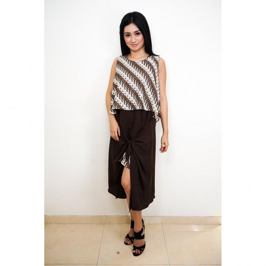 FS - GESYAL Midi Parang Dress Ikat Batik - Kopi
