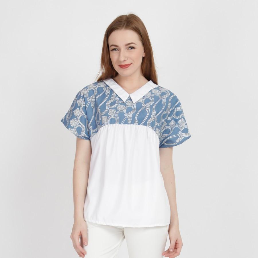 Batik Dirga Bonita Atasan Wanita / Blouse Batik - Blue