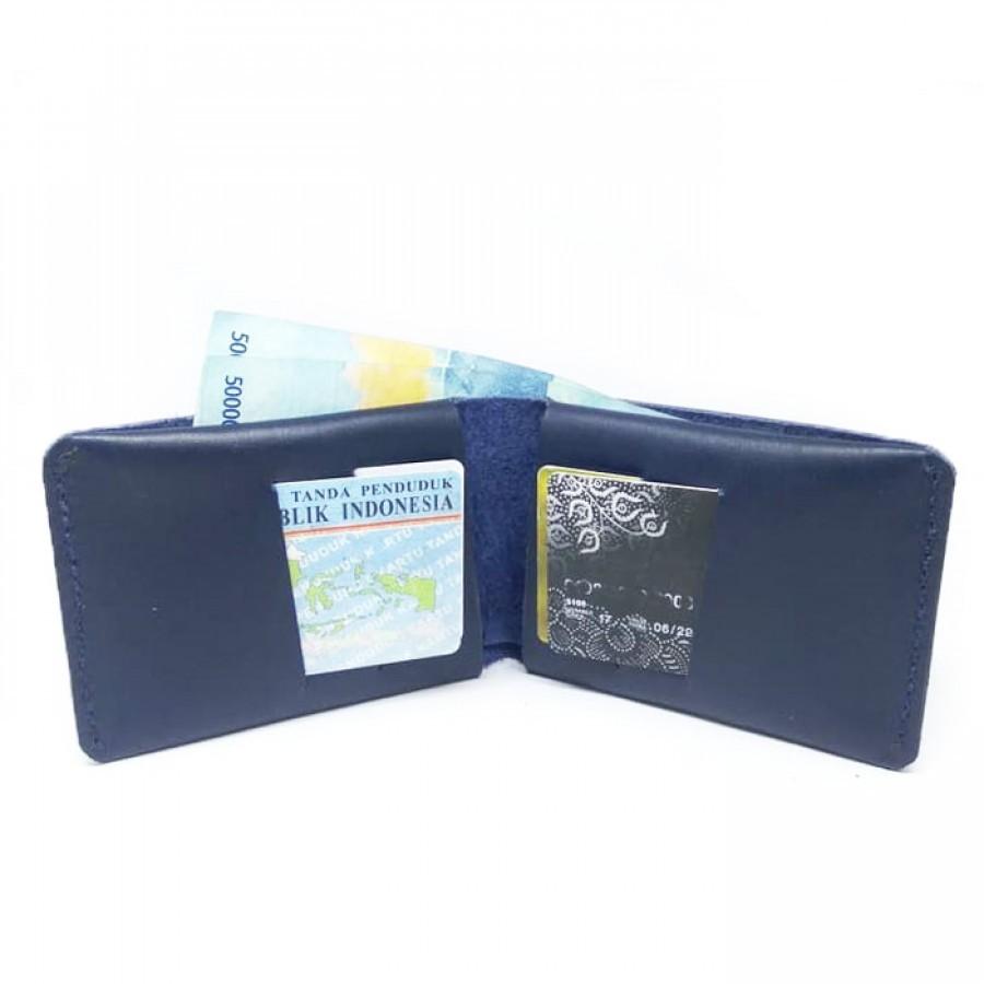 Dompet Pria Kulit Asli Sapi Model Slim Warna Biru - Simple Wallet. Dompet Kulit Pria -