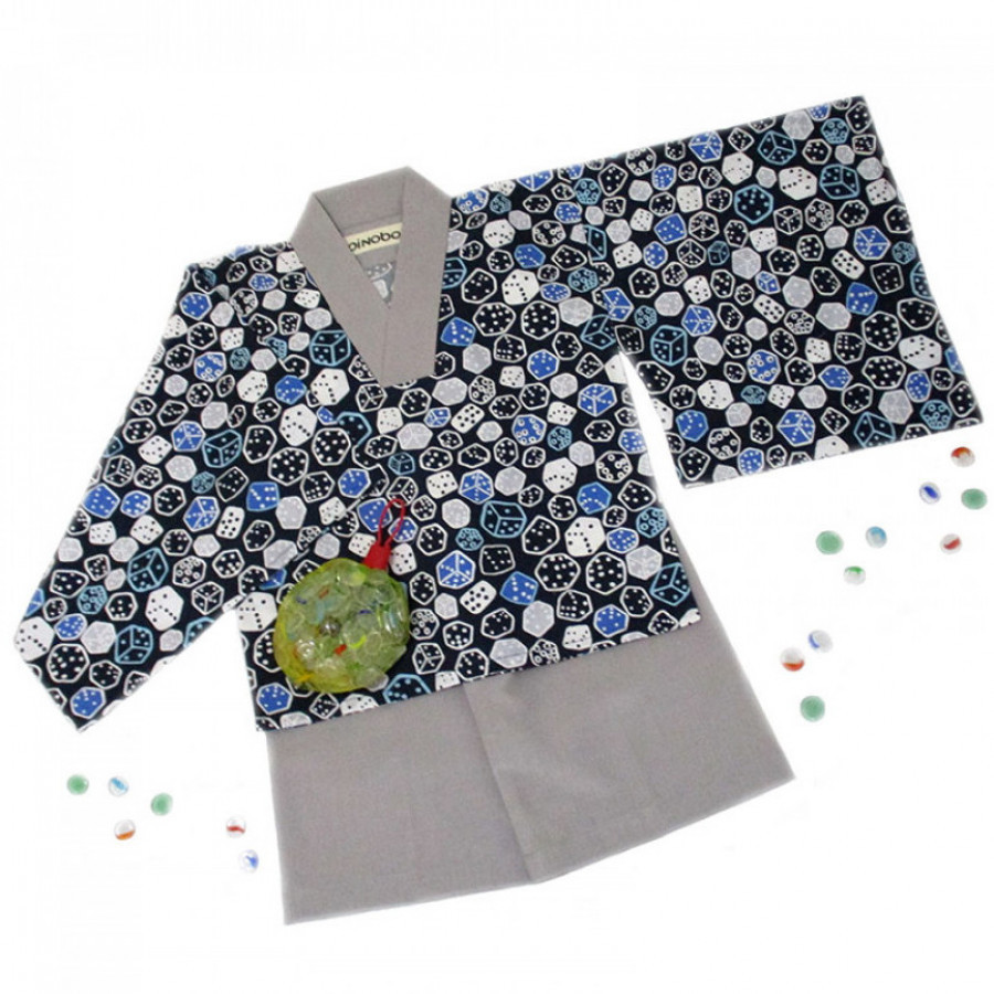 Koinobori Blue Dices Instant Kimono Setelan Anak Pria