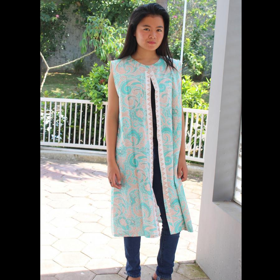 GESYAL Vest tunik Outer Panjang Batik Atasan Wanita - Tosca