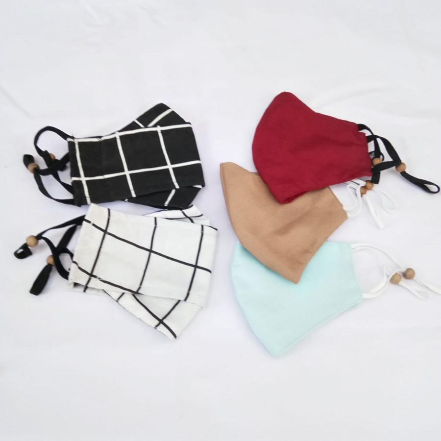 Masker Kain  3D Monochrom Mangkok Polos Custom Set isi 5 Gesyal. Pola nyaman dipakai