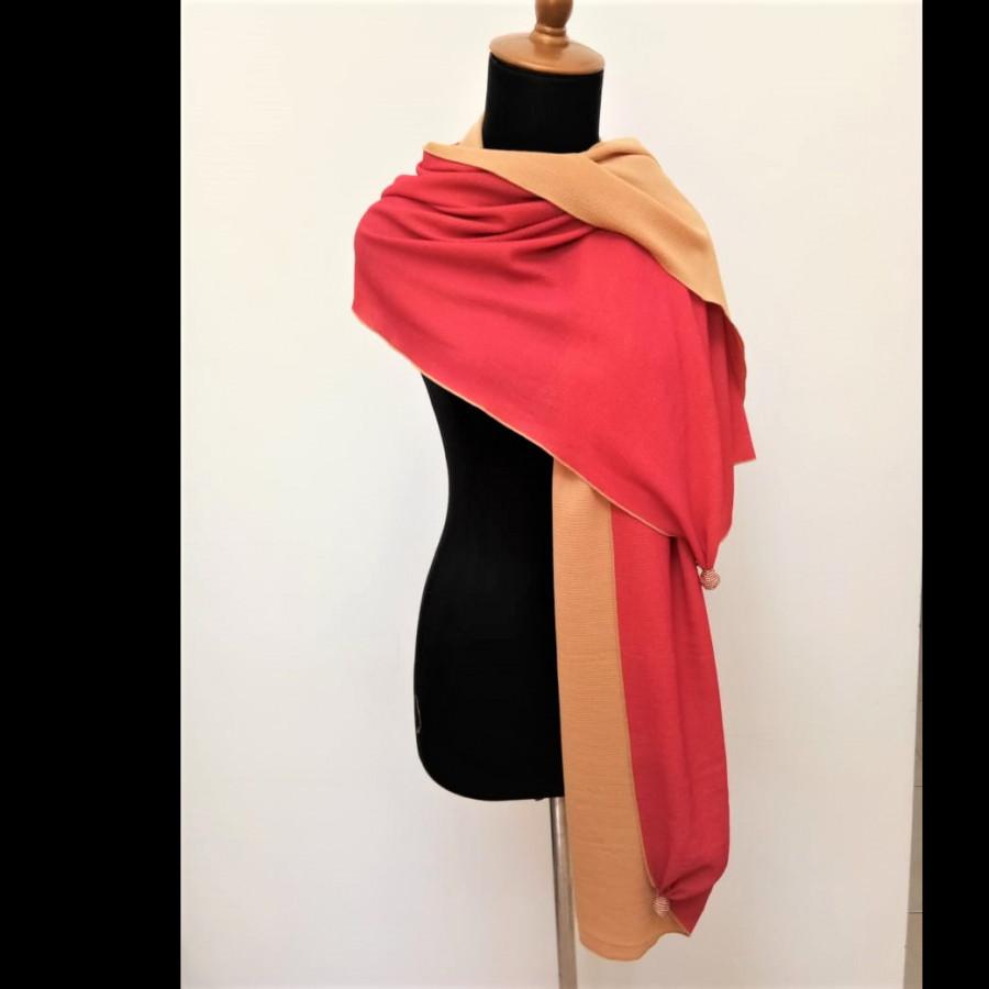 GESYAL Syal Travelling Wanita Crepe Bolak Balik Scarf - Cream Pink