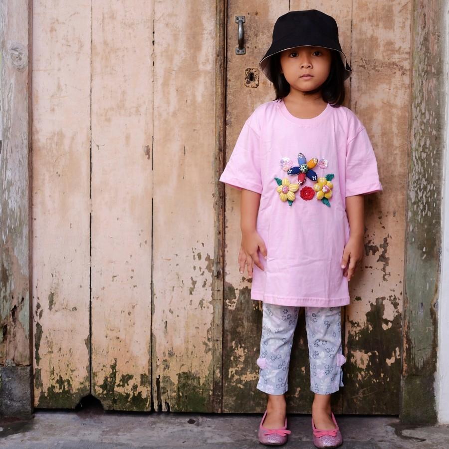 Kaos Anak Korsase Batik Bunga Bakung