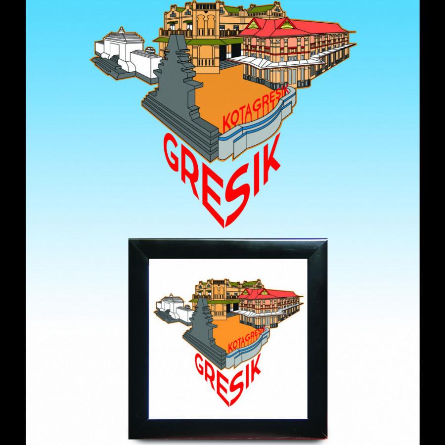 Bingkai Hiasan Ilustrasi Kota Gresik