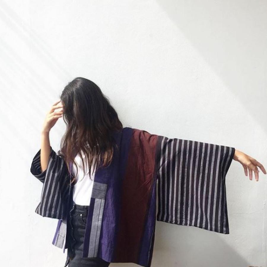 atasan kimono Lurik