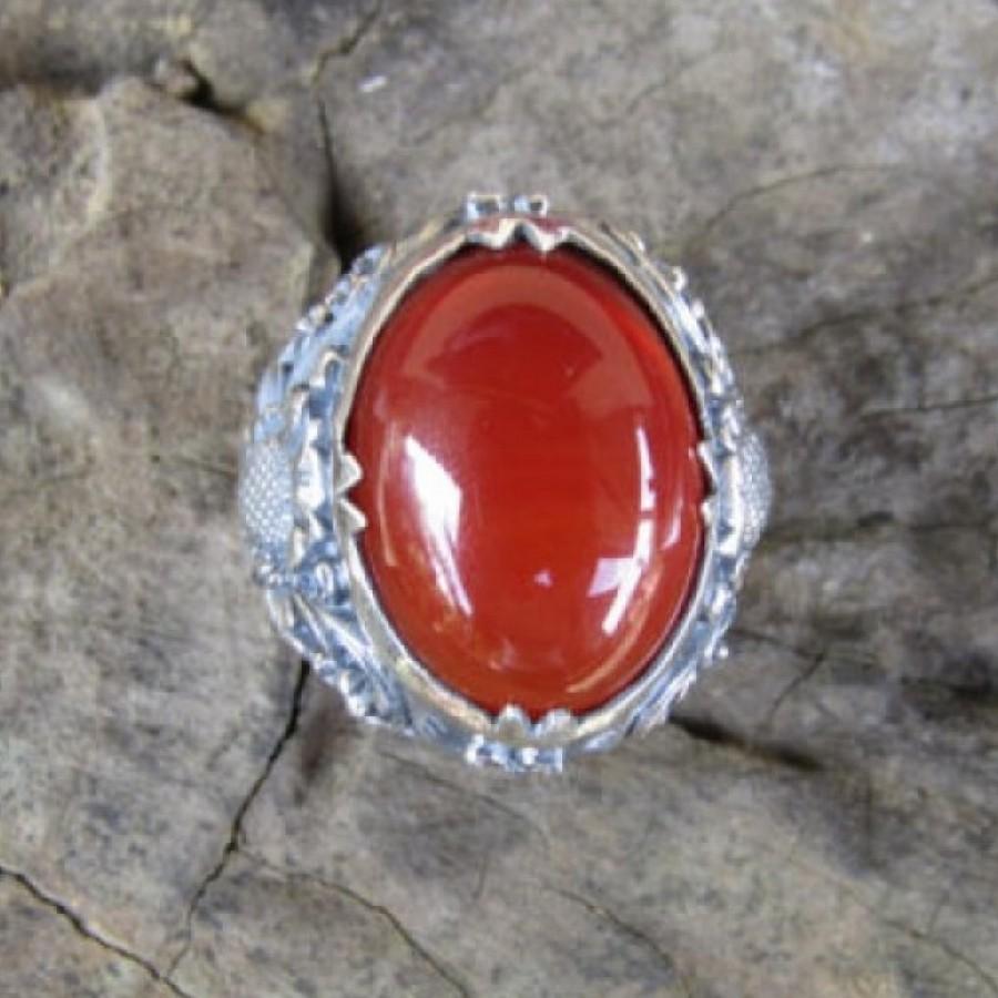 cincin perak motif ukiran bali patra batu cornelian 100328