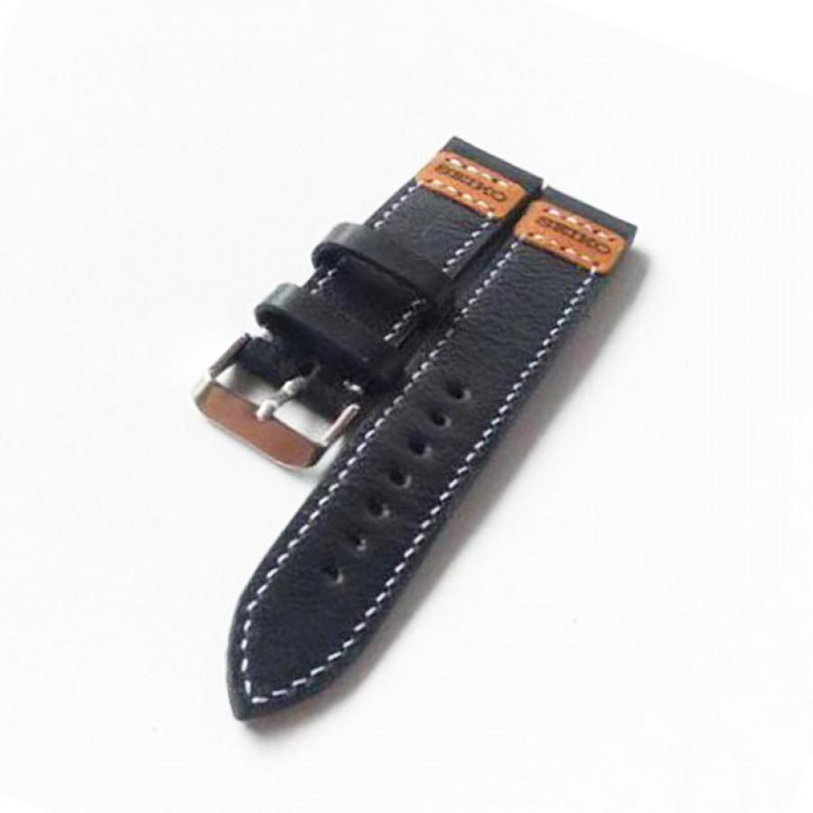 Tali jam tangan kulit asli size 22 mm warna hitam logo seiko - GARANSI 1 TAHUN