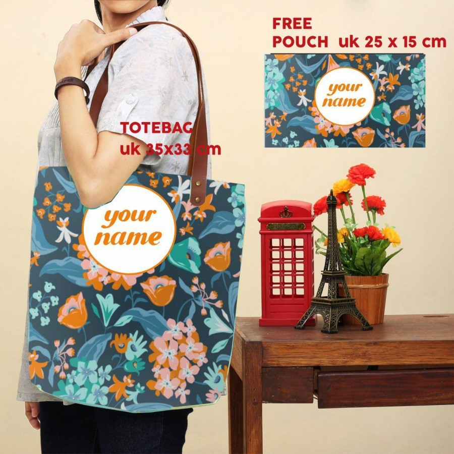 Totebag Costum Nama dan Pouch (available 6 motif)