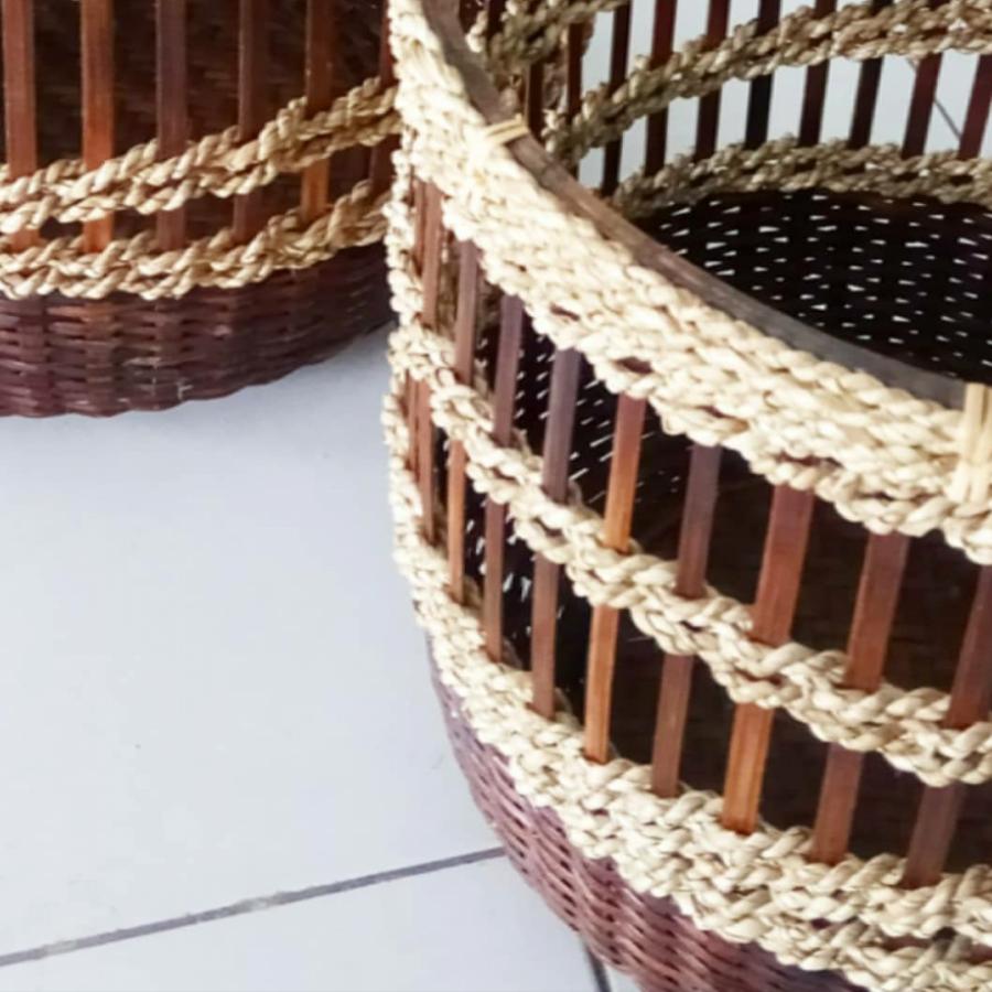 keranjang bambu (1 set isi 2 pcs)