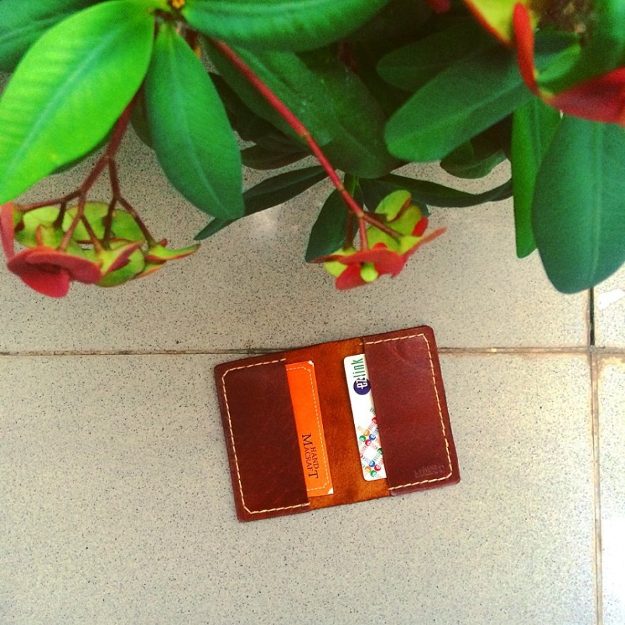 Simple wallet for business card color brown