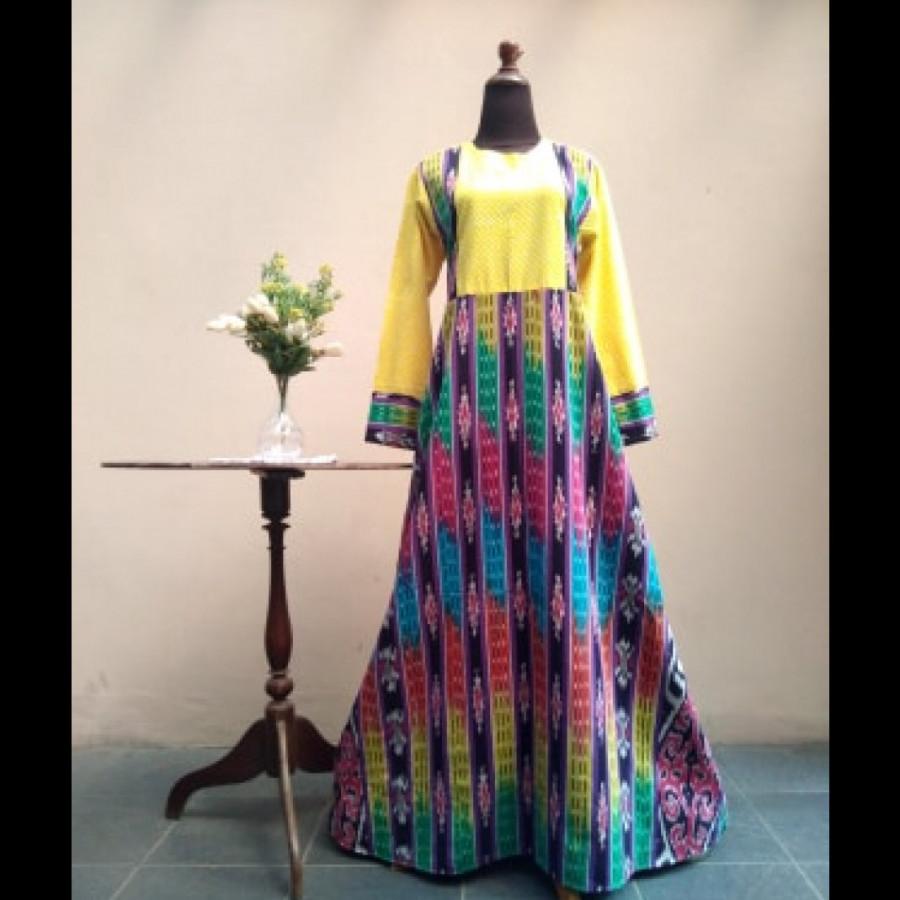 Gamis Tenun Kombinasi Batik Polka