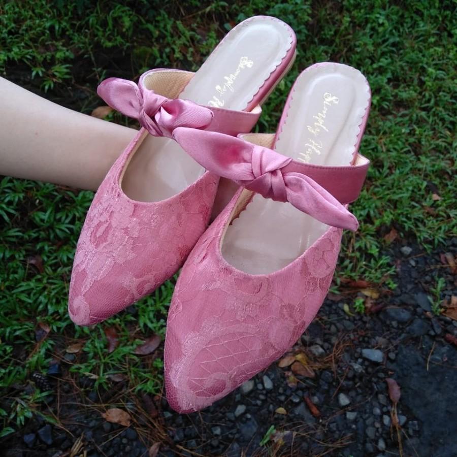 Flat Shoes Pink Brokat