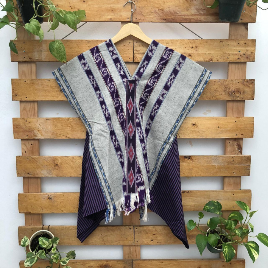 Atasan kimono kombinasi tenun jepara dan lurik warna ungu | sassy top purple