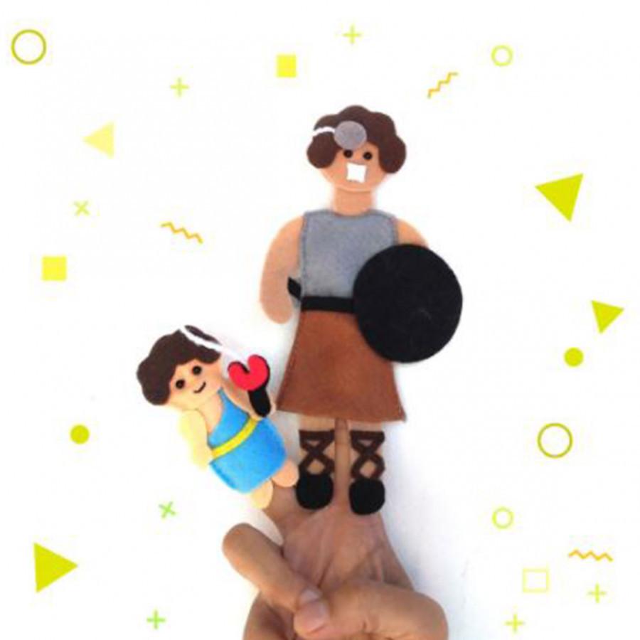 Precious One Puppet Jari Daud Dan Goliat / Finger Puppet Alat Peraga Sekolah Minggu