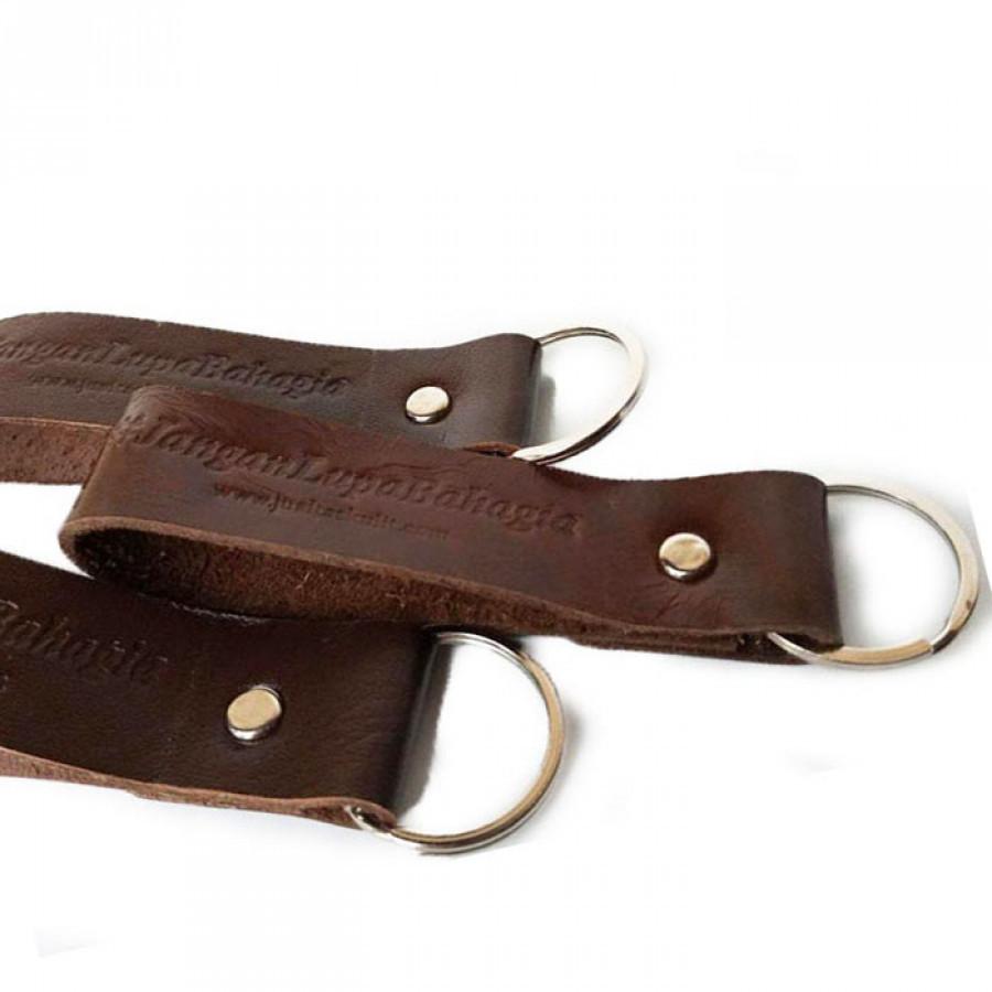Gantungan Kunci Kulit Asli Jangan Lupa Bahagia Garansi 1 Tahun Warna Coklat Tua - Key Chain Leather