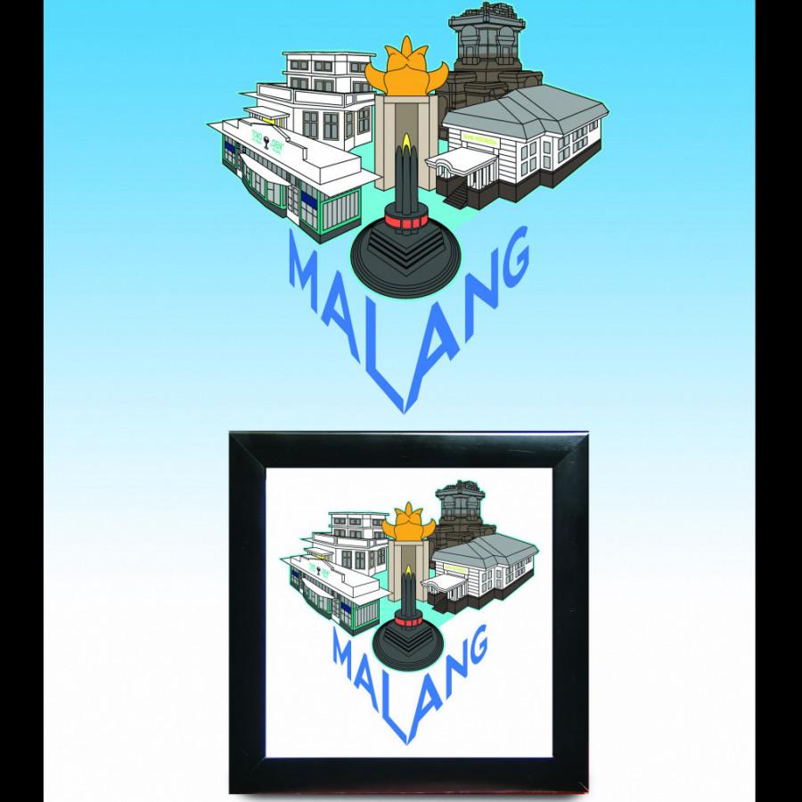 Bingkai Hiasan Ilustrasi Kota Malang