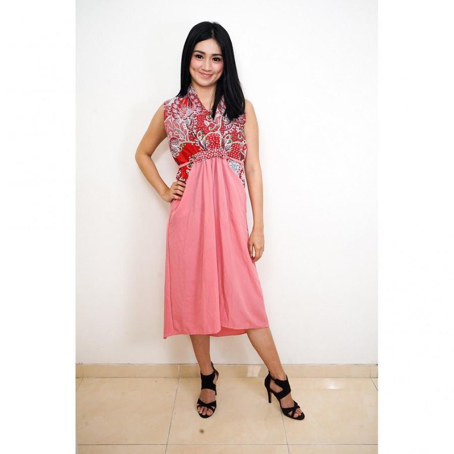 FS - GESYAL Kombinasi Batik Print Midi Dress - Pink Dusty