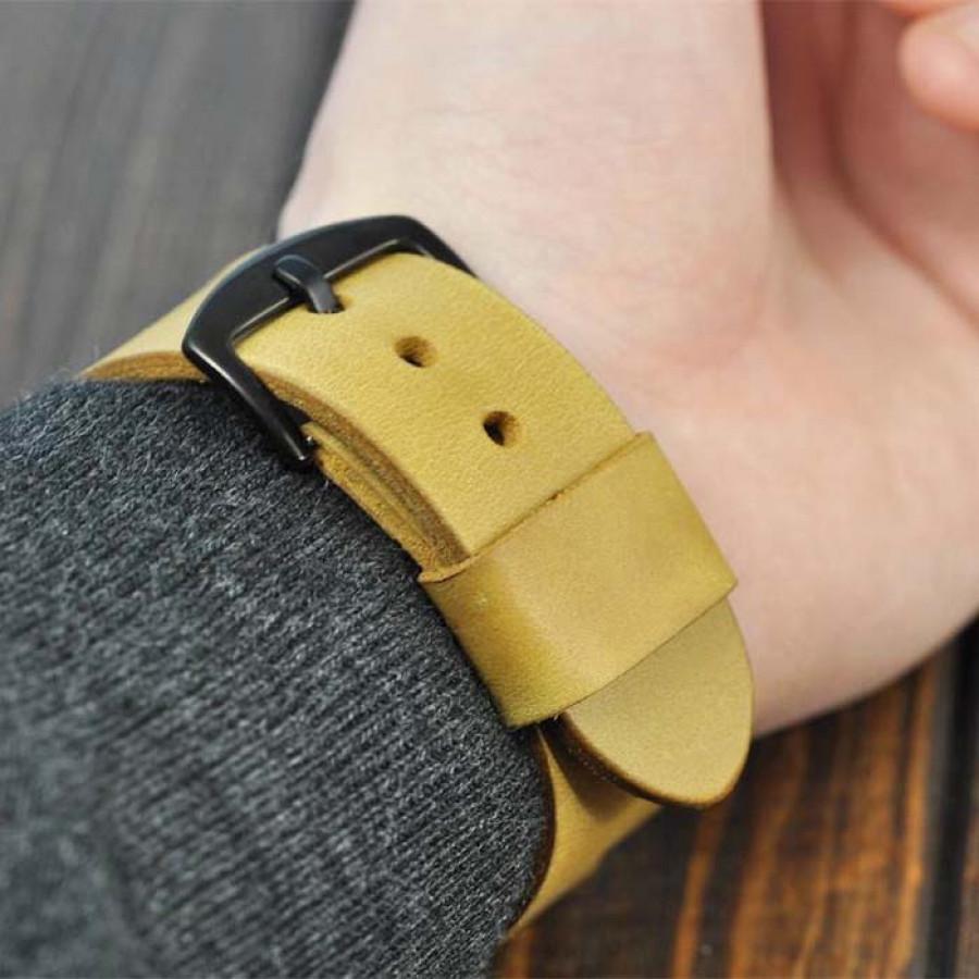 Apple Watch Strap Kulit Asli 38 40 42 44 MM Warna Coklat Tan Garansi 1 Tahun - Smartwatch