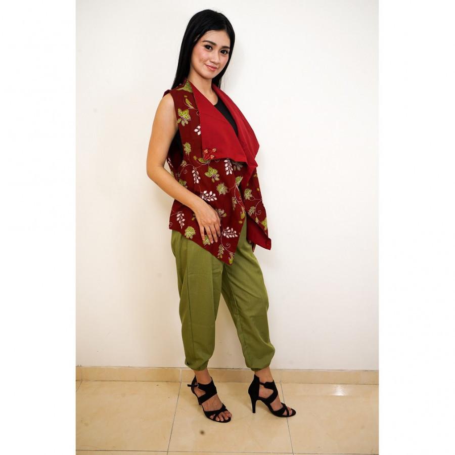 GESYAL Setelan Cardigan Bolak Balik Batik Tulis Outer Vest Atasan Wanita - Merah Maroon