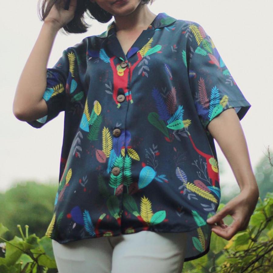 Happy Orangutan Satin Shirt - Short Sleeve