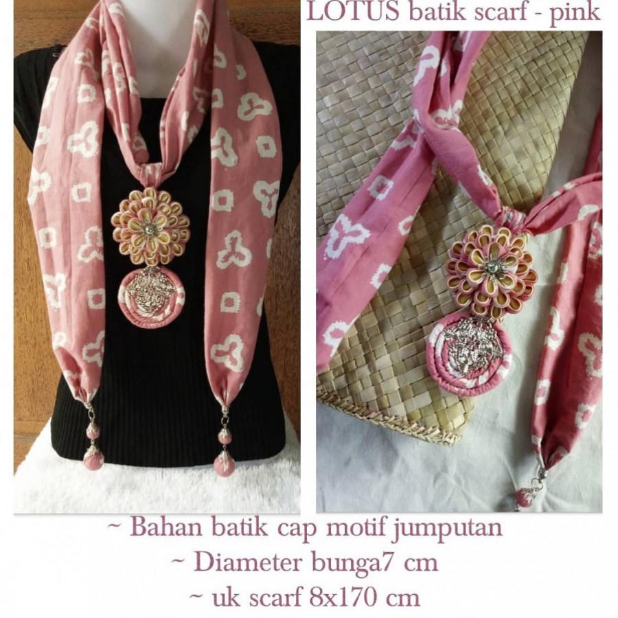 Kalung batik scarf LOTUS dusty pink