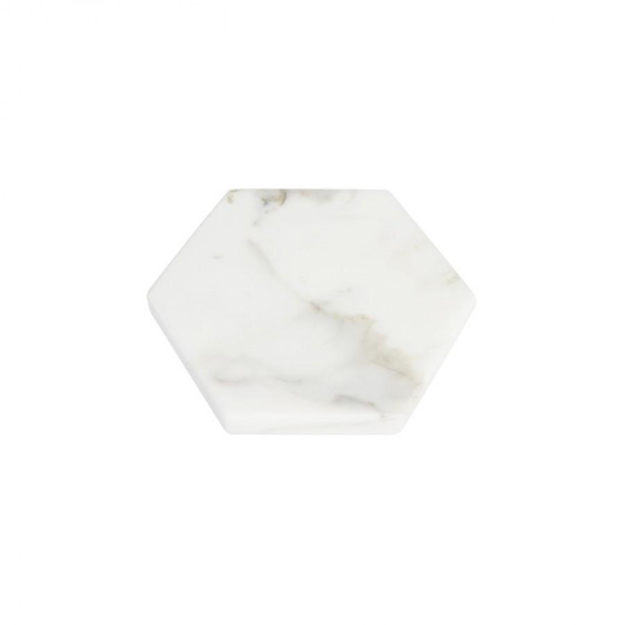 Hexagon White Moonstone Marble D12