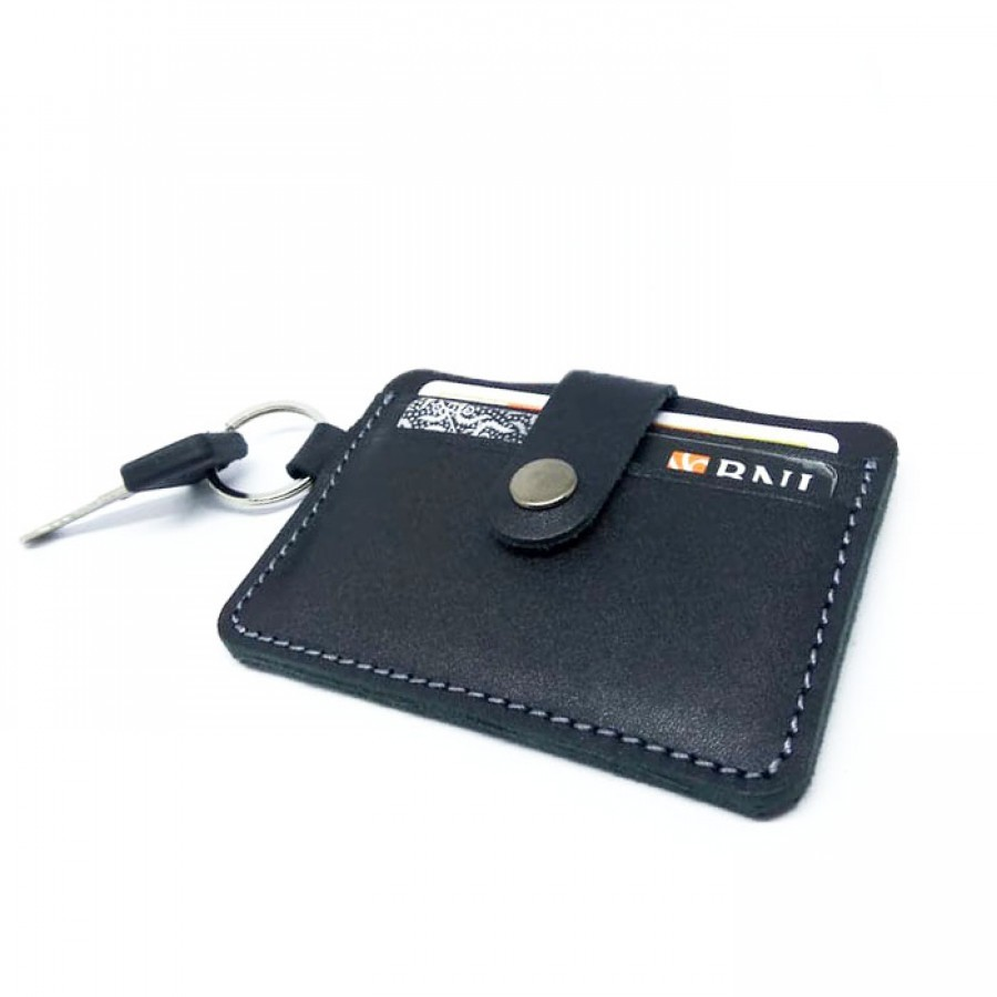 Dompet STNK Kulit Asli Model Simpel Warna Hitam - Dompet Kunci Mobil Motor STNK Kartu SIM Etoll E Money