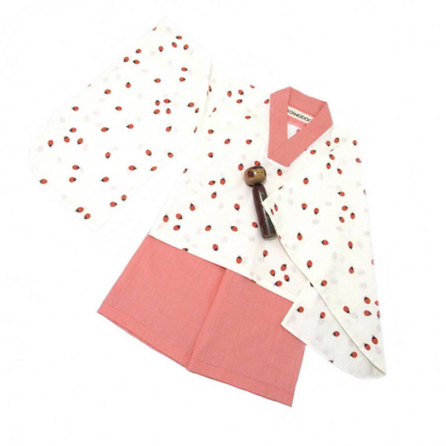 Koinobori Ladybug Instant Kimono Setelan Anak Wanita