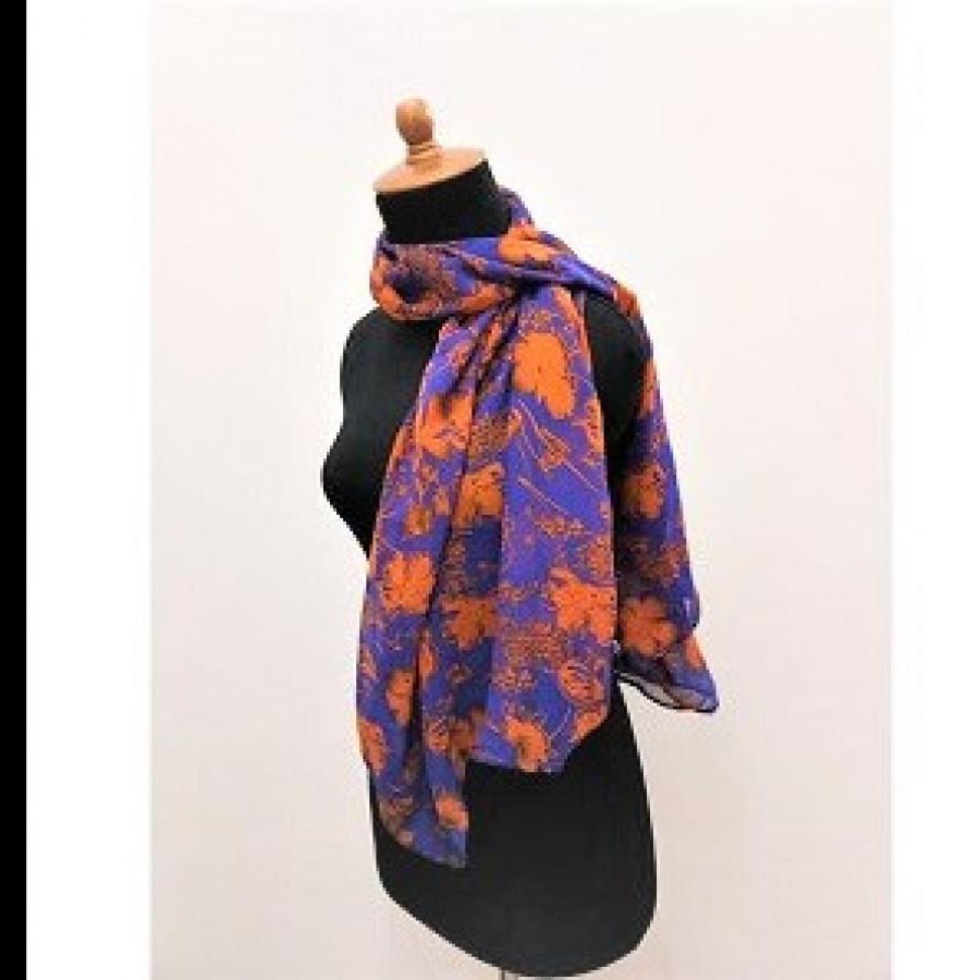 GESYAL Motif Beads Scarf Wanita - Denim Orange