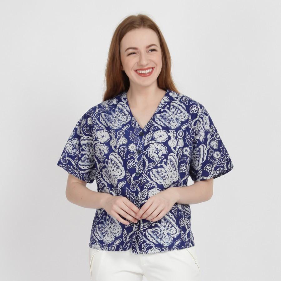 Batik Dirga Tegan Atasan Wanita / Blouse Batik - Blue