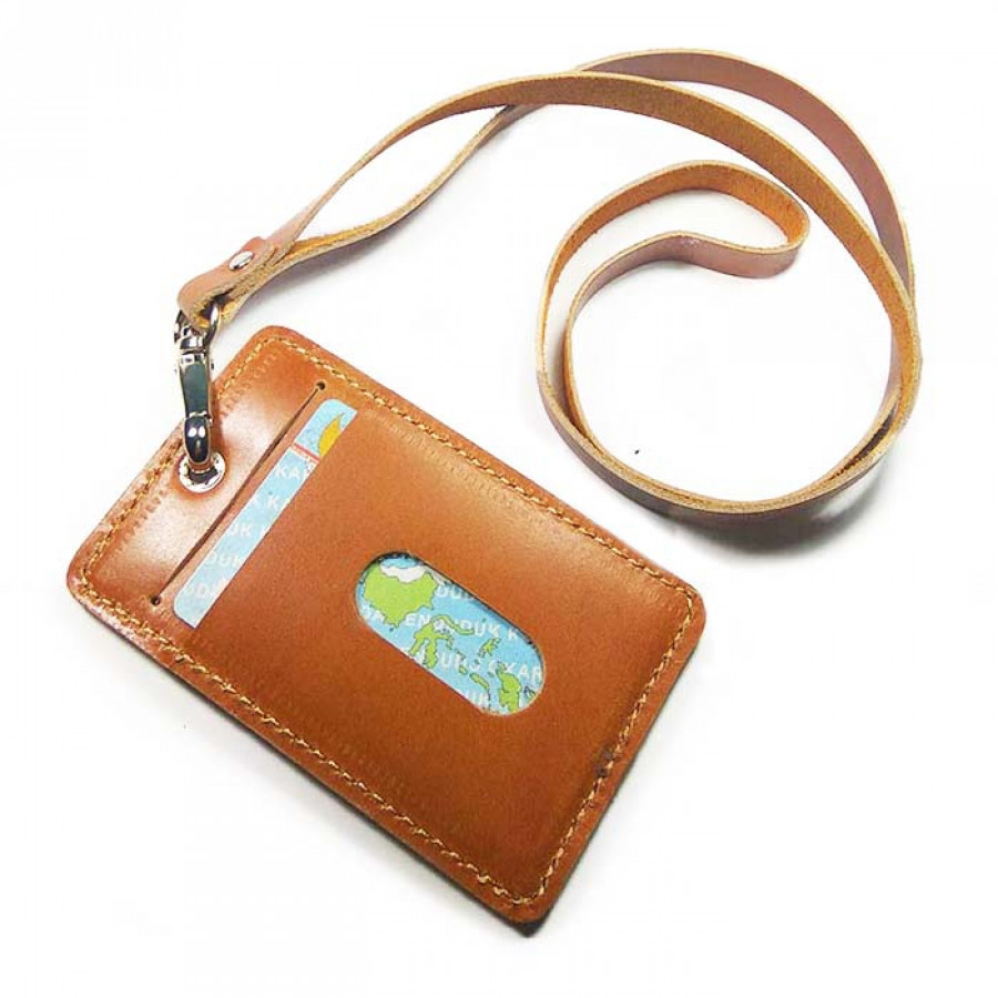 Name Tag Kulit Asli Akses Warna Tan GARANSI 1 TAHUN - Tali Id Card. Gantungan Id Card -