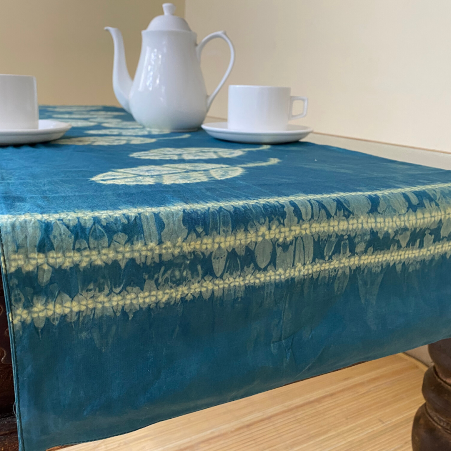 Natural Dye Jumputan Table Runner - Daun Jambu