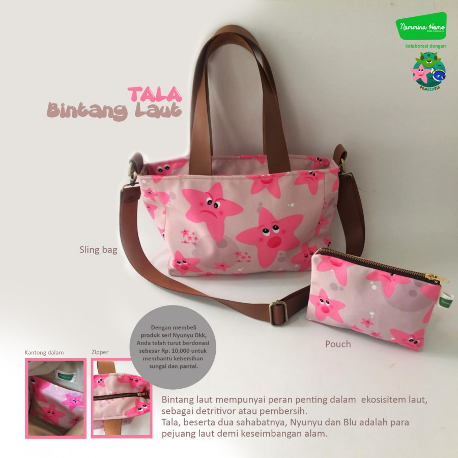 Sling Bag dan Pouch Tala Dusty Pink Nammina Home