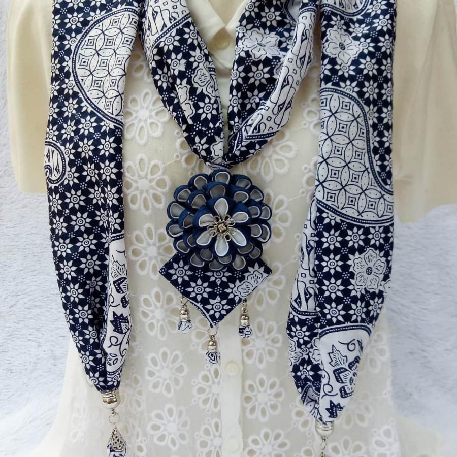 Kalung batik scarf SAKURA dark blue
