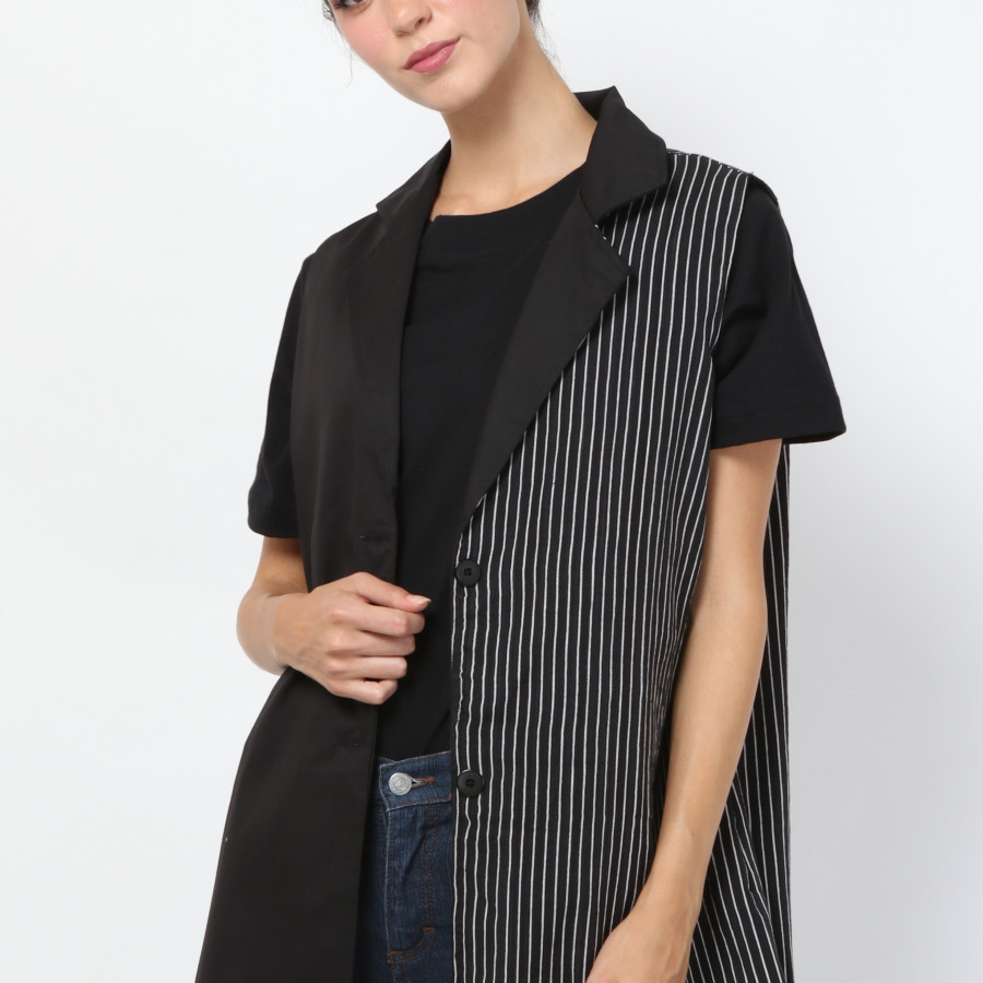 BTARI VEST BLACK STRIPE