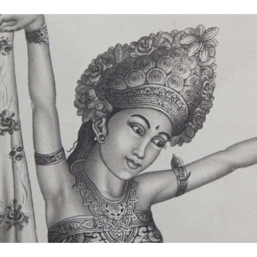 Lukisan tradisional motif 2 penari bali 60973