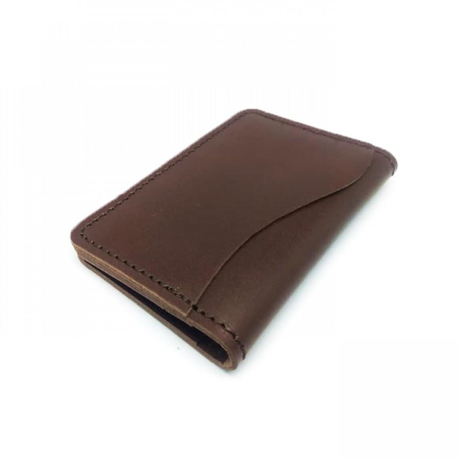 Dompet Kartu Kulit Asli Model Lipat Dua Warna Coklat - Card Holder. Dompet Kulit Asli. -