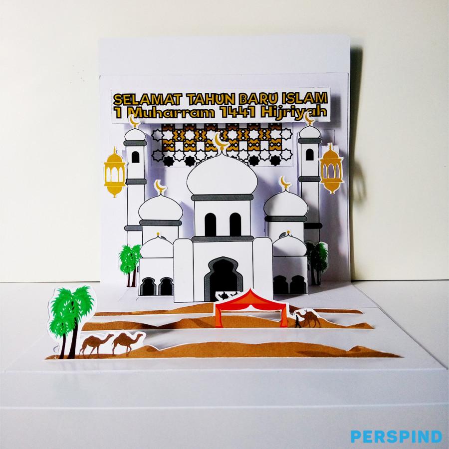Pop Up 3D Postcard Edisi Tahun Baru Islam 1 Muharram 1441 Hijriyah