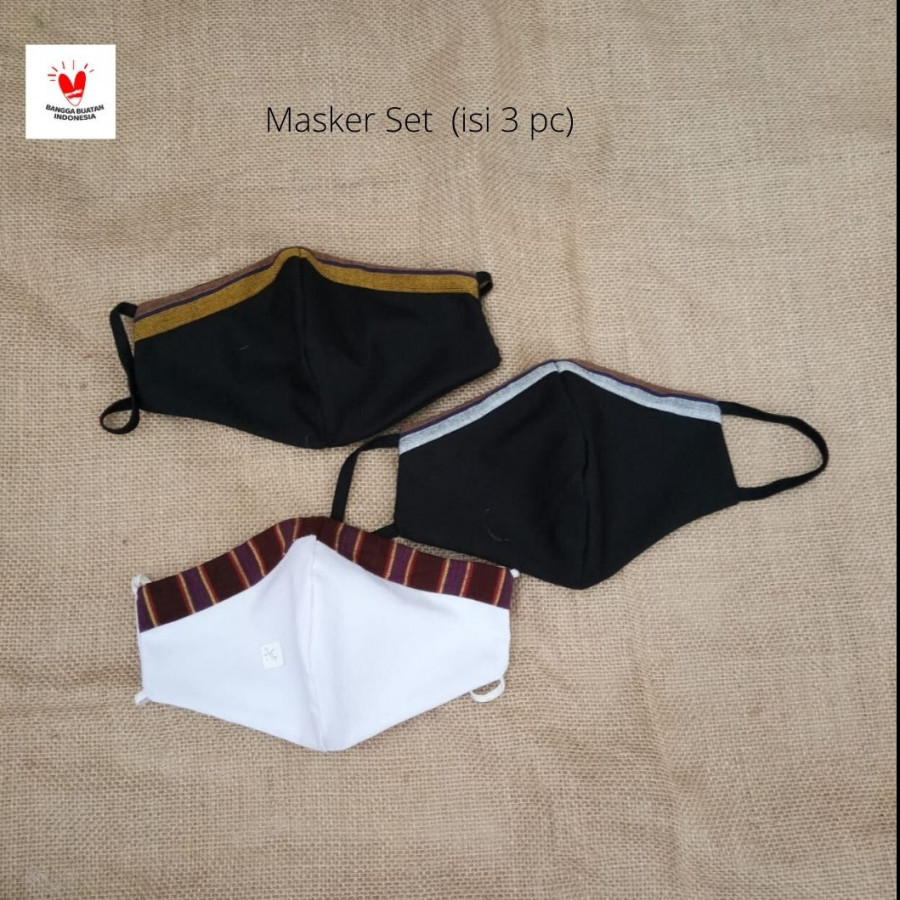 GESYAL Masker Fashion Polos Lurik Set isi 3. Pola nyaman bikin betah