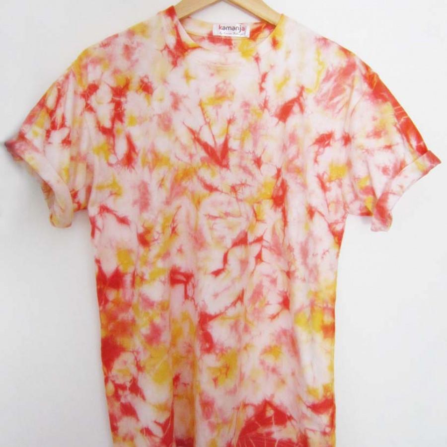 Kaos Tie Dye Lengan Pendek Unisex Kuning Merah