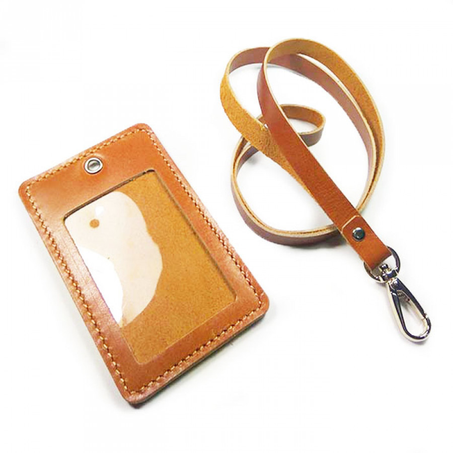 Name Tag Id Kulit Asli Warna Tan GARANSI 1 TAHUN - Tali Id Card. Gantungan Id Card -