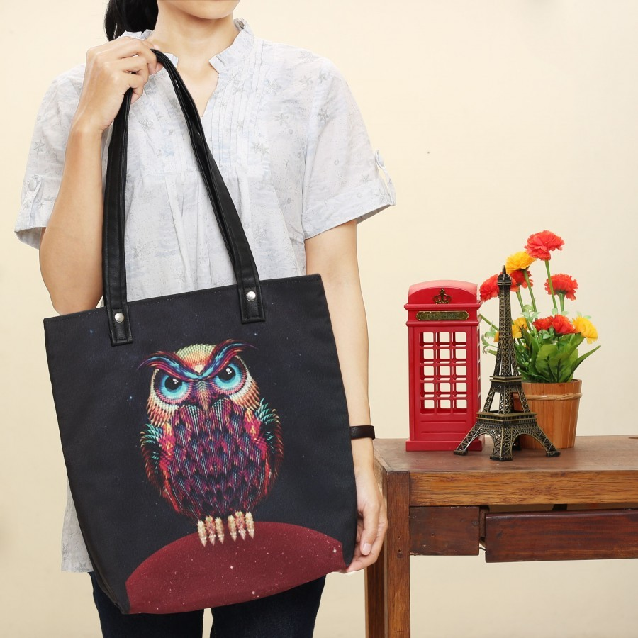 Totebag Owl Black