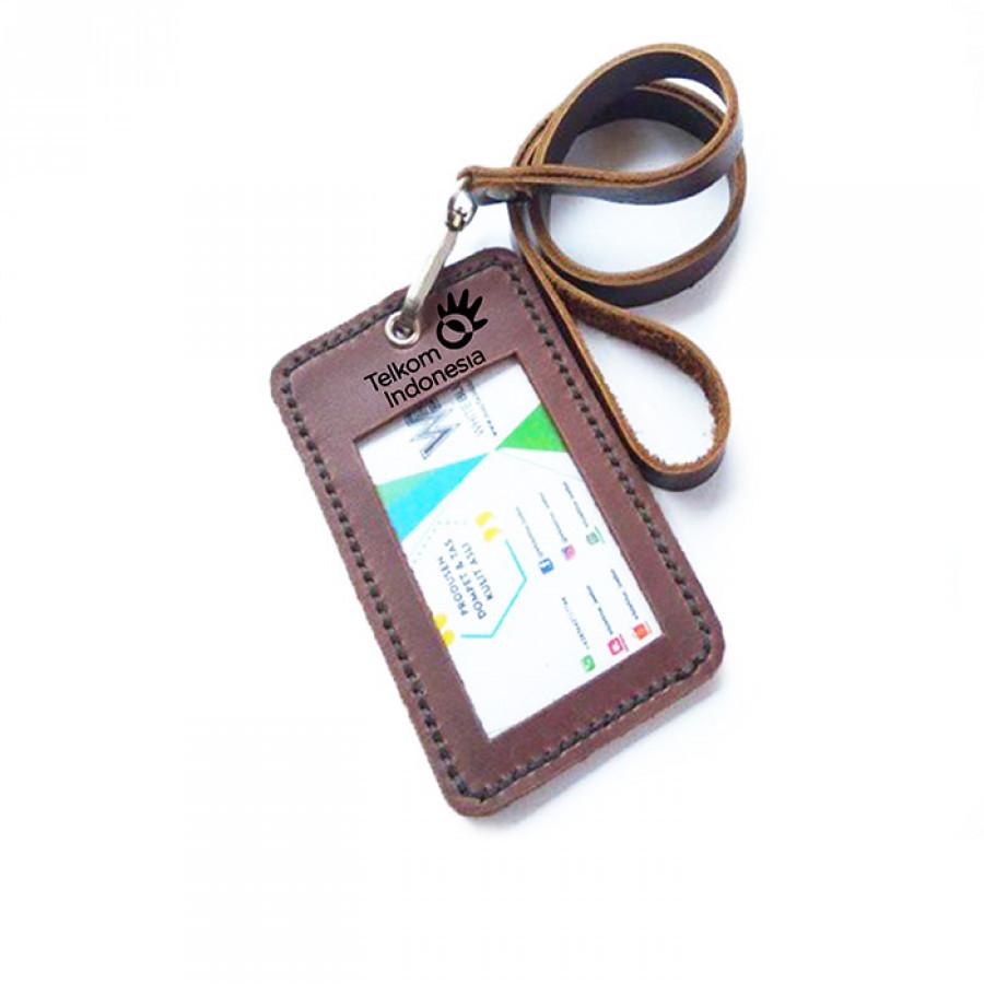name tag id kulit asli logo TELKOM warna coklat - tali id card