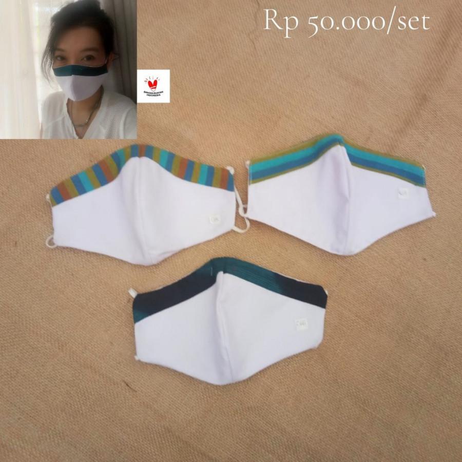 GESYAL Masker Polos Set List Lurik . Pola nyaman dipakai. Limited Item