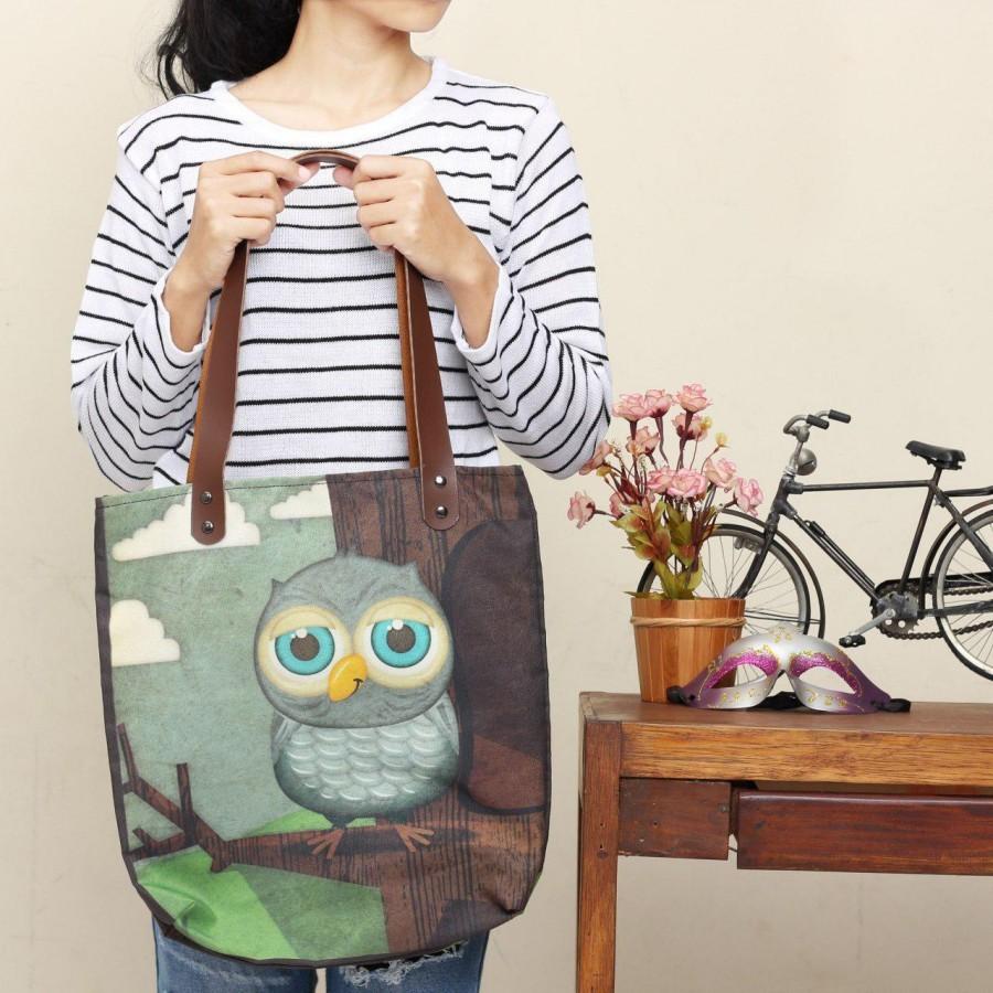 Tas Totebag Owl Family  Full Printing Bahan Kanvas