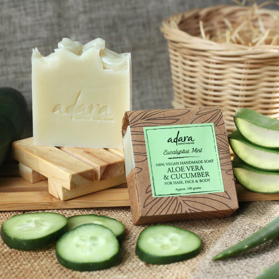 Adara Organic Handmade Aloe Vera & Cucumber Soap - Eucalyptus Mint