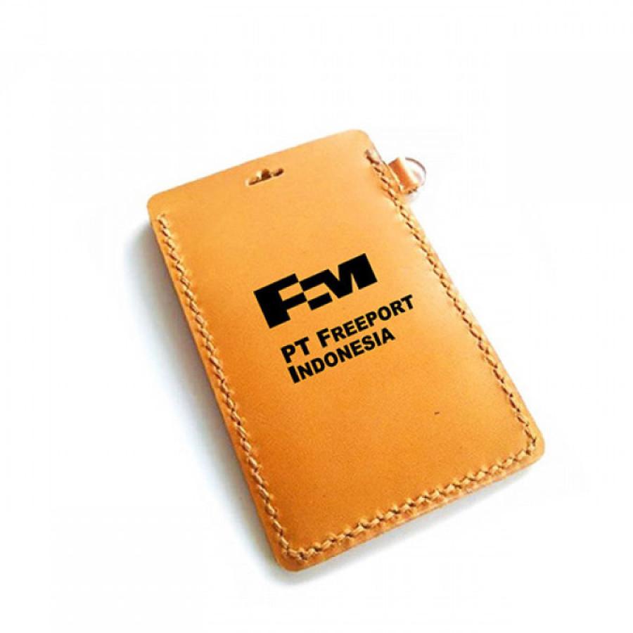 Name Tag Kulit Asli Logo PT. FREEPORT INDONESIA Garansi 1 Tahun - Tempat Id Card. Gantungan Id Card