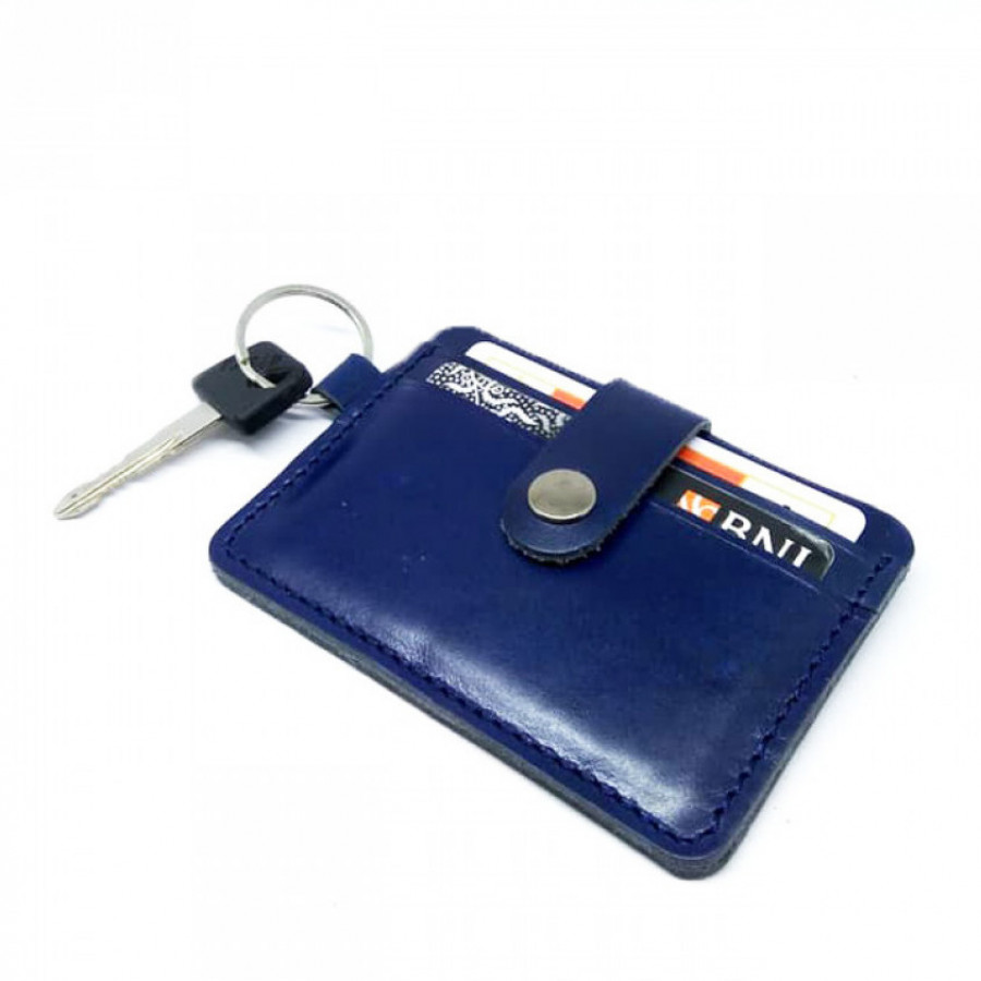 Dompet STNK Kulit Asli Model Simpel Warna Biru - Dompet Kunci Mobil Motor STNK Kartu SIM Etoll E Money